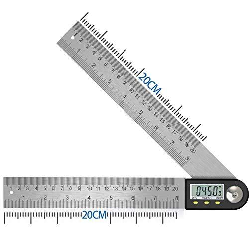 Winkelmesser Digital Winkellineal mit LCD-Anzeige Edelstahl Winkelmessung Winkel Anzeige für Holzarbeiten Heimarbeit Handwerker,360° Winkel Messen,Hold Funktion 400MM