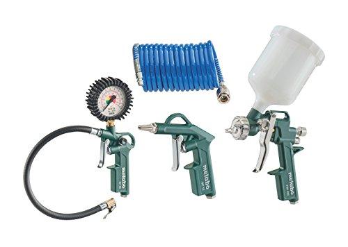 Metabo Druckluft-Werkzeugset LPZ 4 Set (601585000) im Karton bestehend aus Blaspistole, Reifenfüllmessgerät, Farbspritzpistole mit Fließbecher und PA-Spiralschlauch
