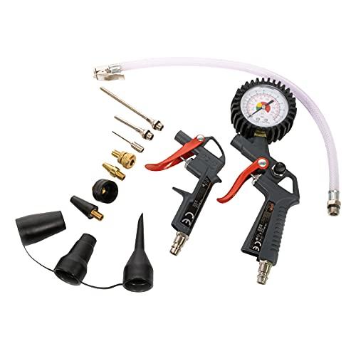MAUK® Druckluft / Kompressor Set   8 bar - 13 tlg.   Reifenfüller & Ausblaspistole für Ihre Werkstatt   inkl. Verlängerungsdüsen & Adapter