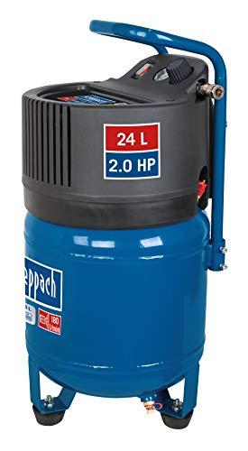 scheppach Druckluft Kompressor HC24V kompakt Luftkompressor stehend   24L Kessel   1500 Watt Leistung   10 bar Arbeitsdruck   Ansaugleistung 180L/min   ölfrei