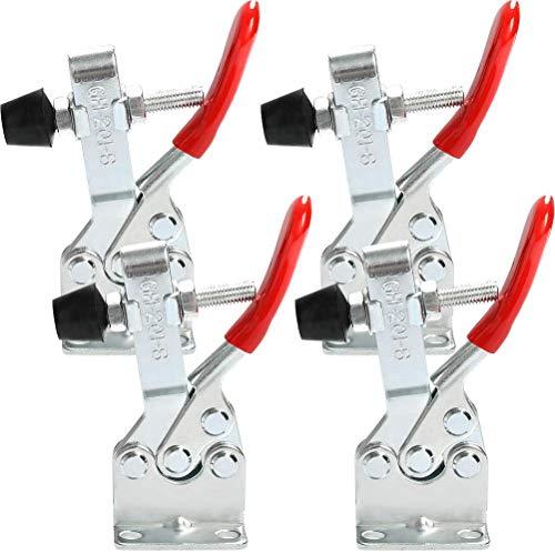 4 Stück Kniehebelspanner GH-201-B Horizontaler Schnellspanner, Waagerecht Spanner 90 kg 198lbs Fassungsvermögen, Toggle Clamp kniehebelspanner verstellbar